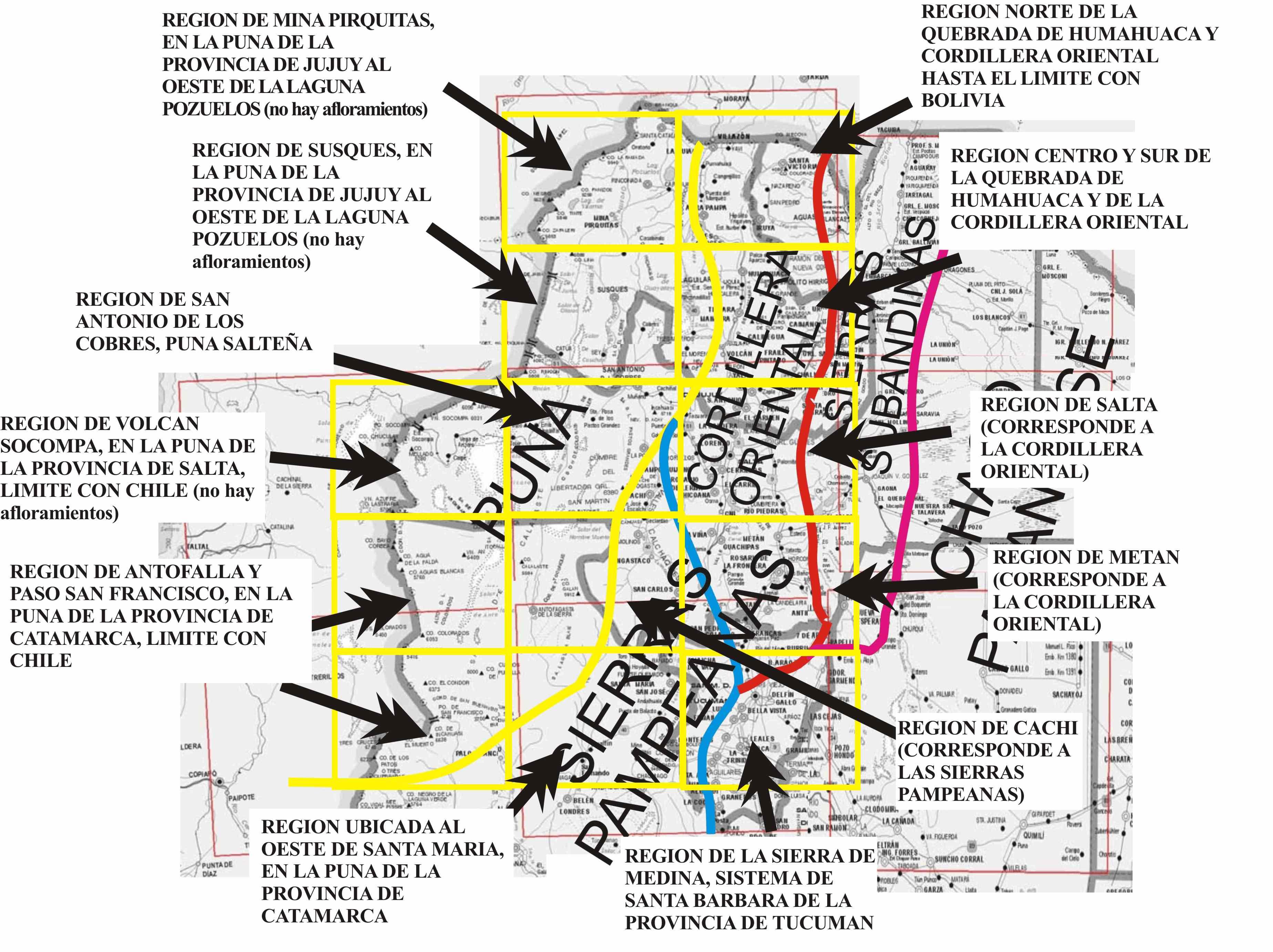 Mapa de la Quebrada de Humahuaca Argentina la Quebrada de Humahuaca
